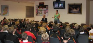 Lisa Cummins addresses an attentive Prep School audience