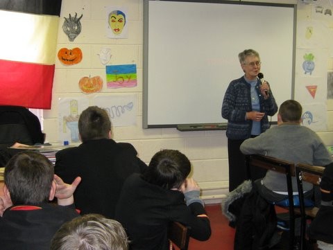 Sister Nuala addressing Fourth and Fifth Class on Tuesday