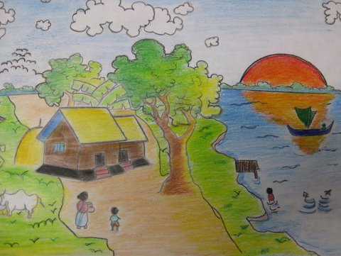 A Village in Bangladesh: this picture was drawn and painted by Saltanat, a new Fifth Class pupil.  Clearly, he is a very talented artist.