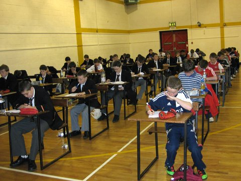 Prep School pupils sit for entrance exam this morning with pupils from other primary scools
