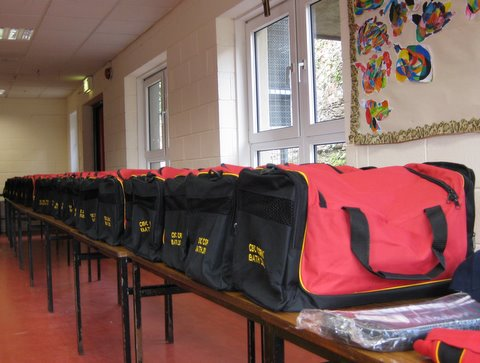 Gear bags packed and ready for the Bath Rugby Tour