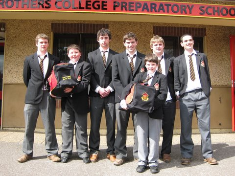 Some of the CBC Senior Rugby team with Bath Tour Vice-Captain and Captain