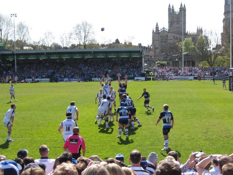 At the Bath v Sale Sharks rugby match
