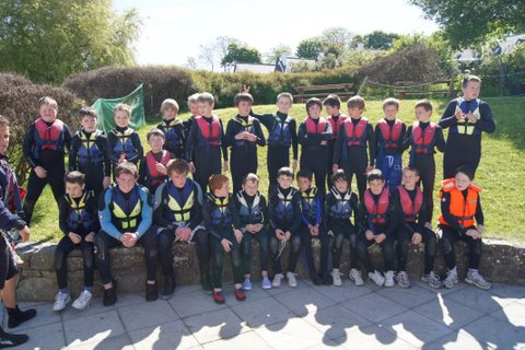 Fifth Class get ready for water sports at the Oyster Haven Adventure Centre