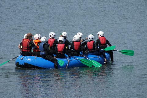 Sixth Class in canoes