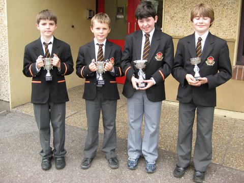 Winners and runners-up in the Third and Fourth Class Chess competitions