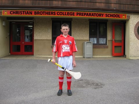 Robbie O'Flynn, Sixth Class in his Cork Hurling Team gear