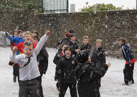 Fifth Class are delighted with the snow