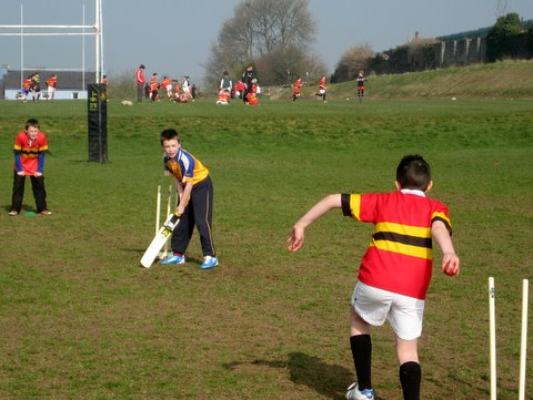 Action at this morning's cricket match