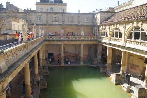 Looking down on main pool in the Roman Baths