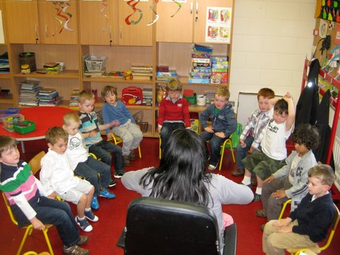 Mrs Lowry engages the boys in a story
