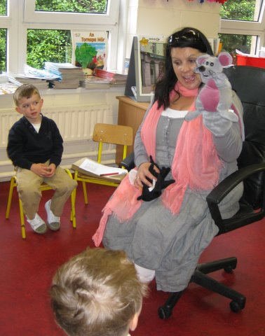 The boys are fascinated with Mrs Lowry's little helper