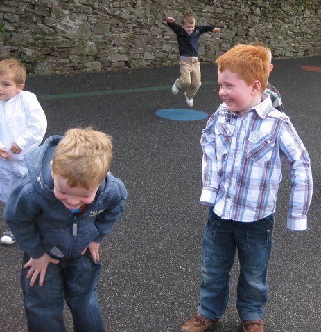 Running and jumping in the playground