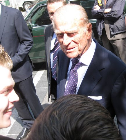 The Duke of Edinburgh asks 'Did you get a half day from school?'
