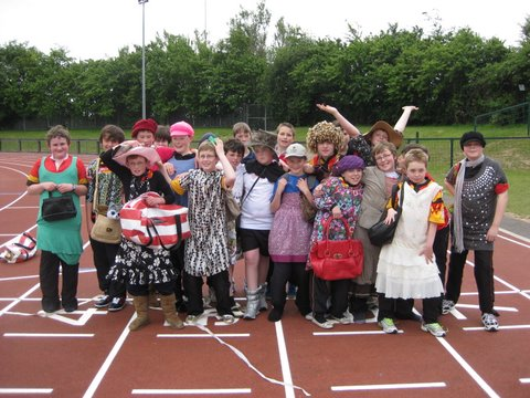 Sixth Class boys pictured immediately after the novelty race.