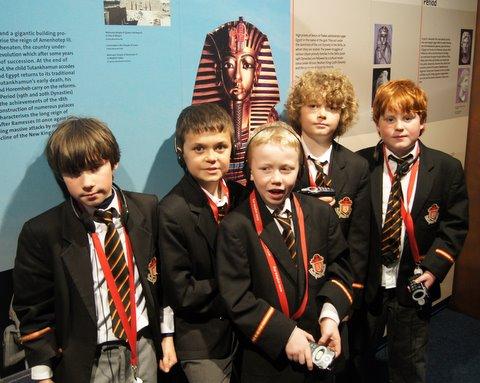 Third Class boys at the Tutankamun Exhibition