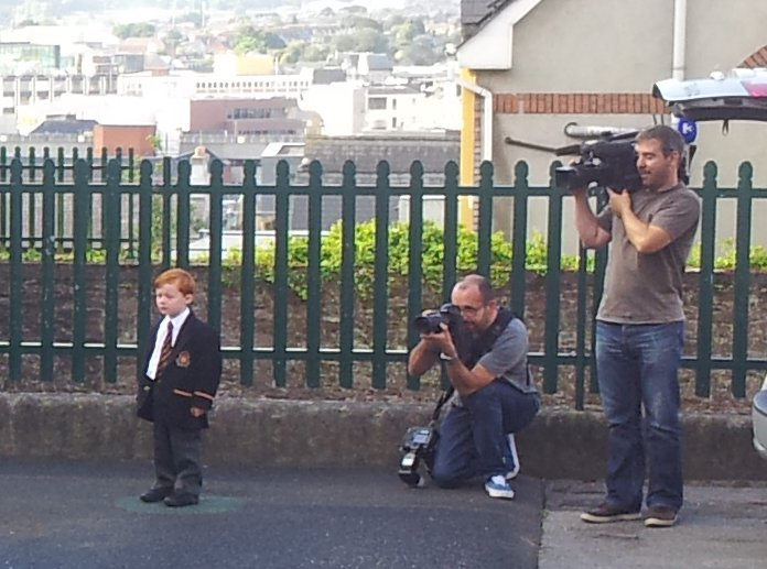 TV3 Cameraman films in the Prep School yard, joined by his colleague from the Irish Independent, recording the new Junior Infants first day in school.