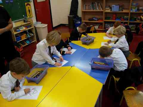 New Prep School boys enjoy their first experience of class work in CBC
